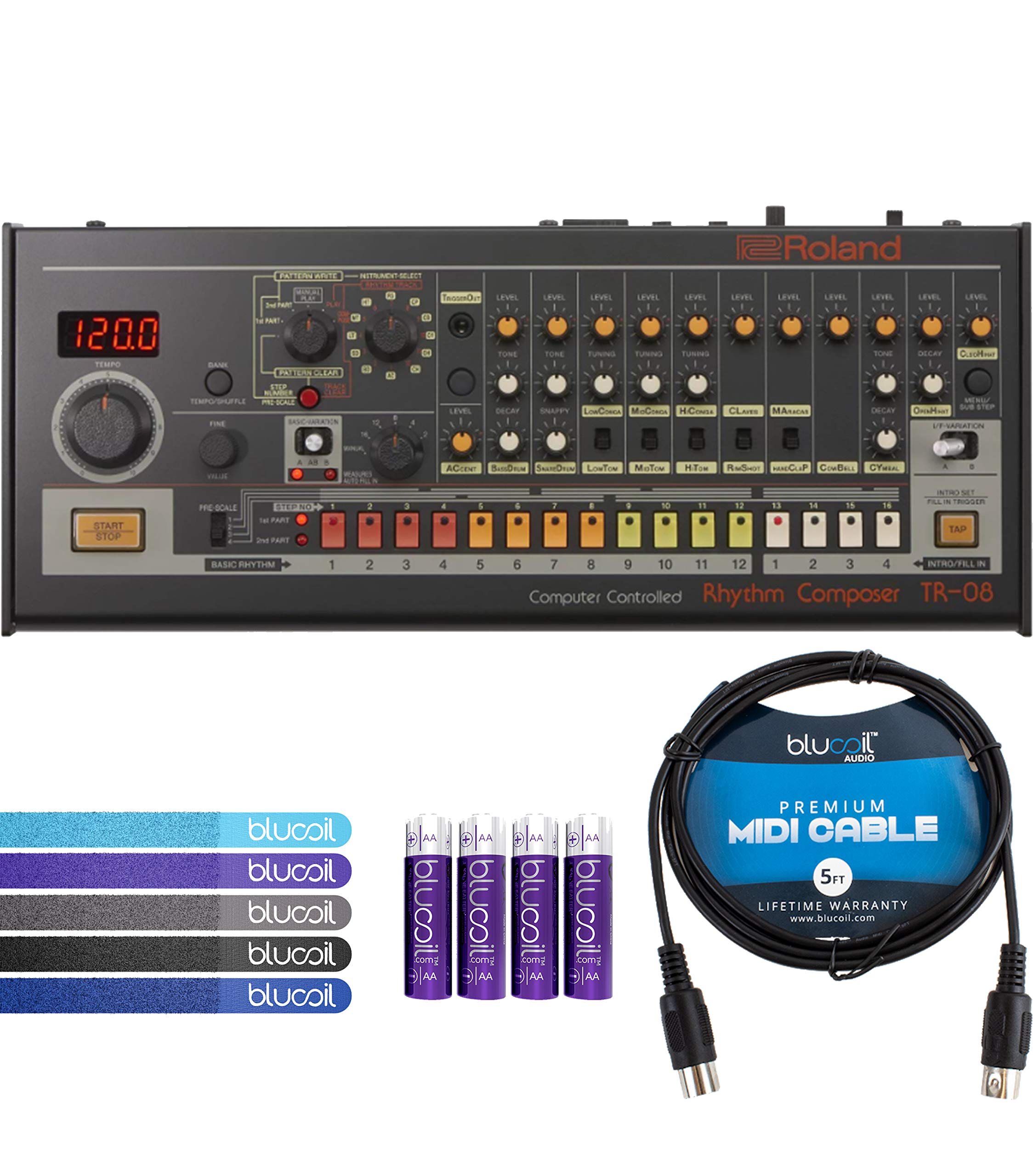 Roland TR-08 Rhythm Composer Sound Module Bundle with Blucoil 5-Ft MIDI Cable, 5-Pack of Reusable Cable Ties and 4-Pack of AA Batteries