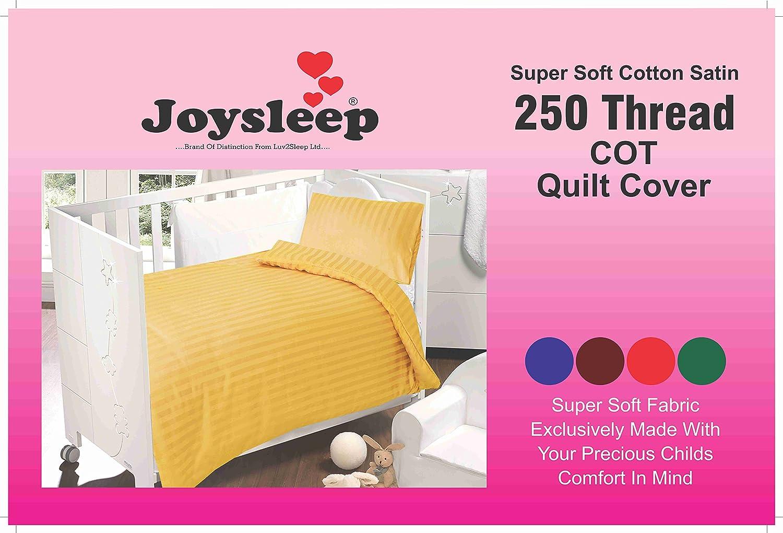 Love2Sleep ULTIMATE LUXURY 250 TC COTTON SATIN COT BED DUVET COVER & PILLOWCASE SET : SATIN STRIPE PRIMROSE