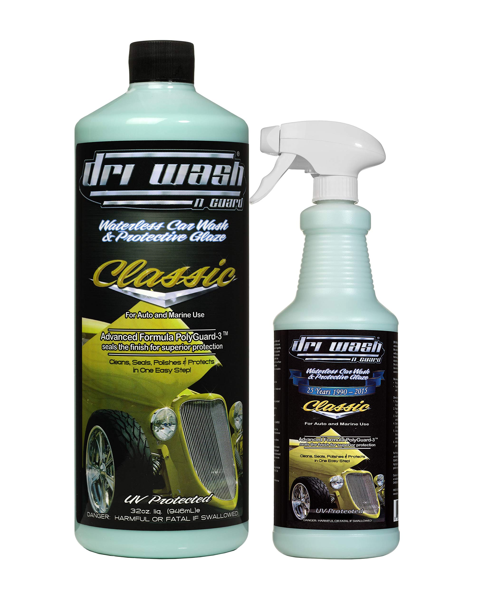 Dri Wash 'n Guard Classic 32oz Waterless Car Wash w/Filled 16oz Spray Bottle