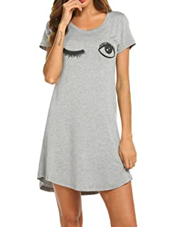369353a592 HOTOUCH Sleepwear Women s Nightgown Cotton Sleep Shirt Printed Short Sleeve  Scoopneck Sleep Tee Nightshirt S-