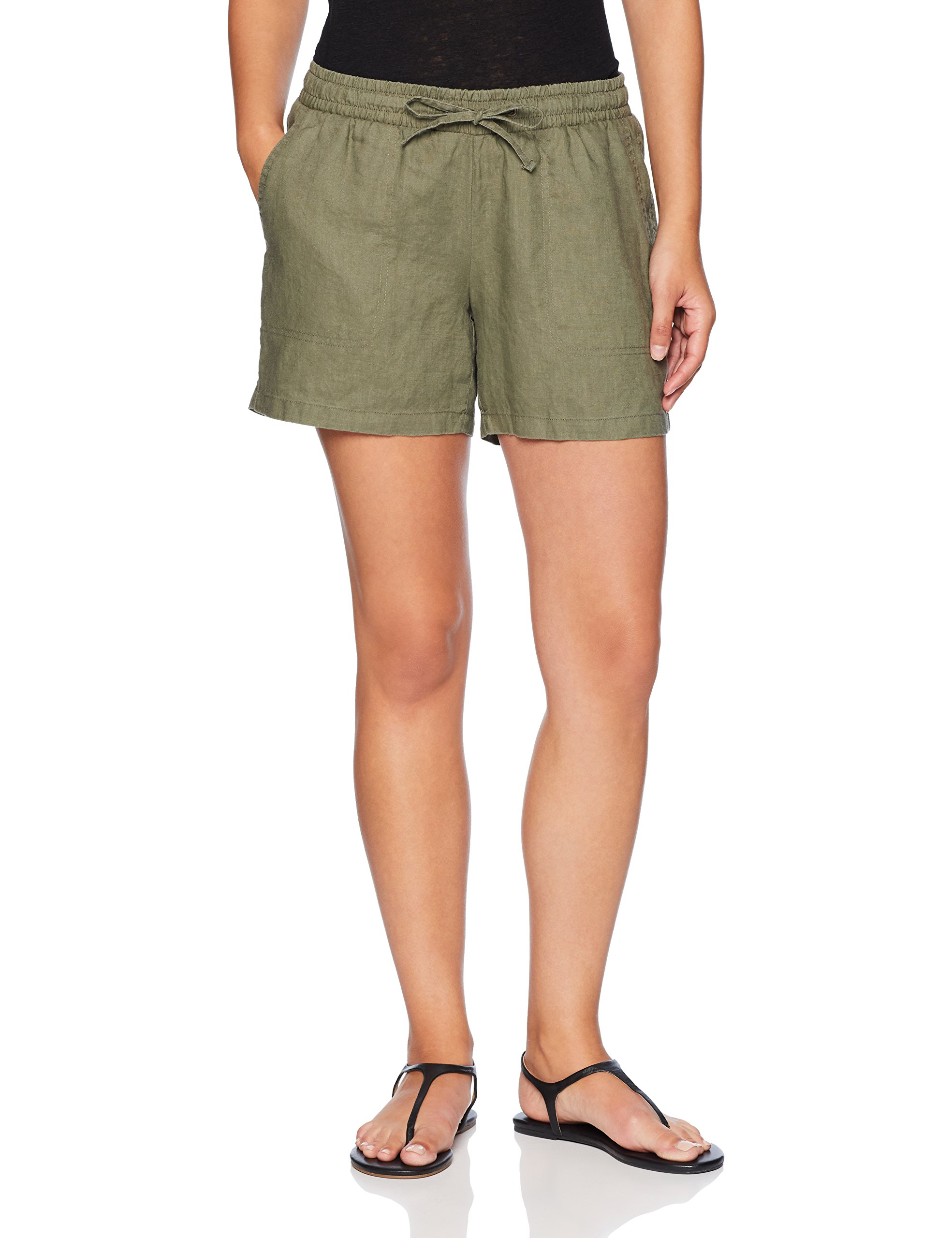 Amazon Essentials Women's 5'' Drawstring Solid Linen Short, Olive, Small