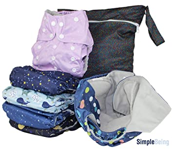 Denim Premium Cloth Nappy Reusable Baby Nappy Double Gusset 4 layer insert