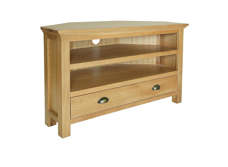 westminster corner tv stand 1 shelf 1 drawer wooden oak. Black Bedroom Furniture Sets. Home Design Ideas