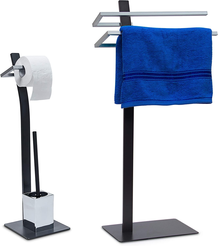 2 piezas Set Grao, WC Baño (pie, toallero de 2 brazos, soporte para papel higiénico, – Soporte para escobilla: Amazon.es: Hogar