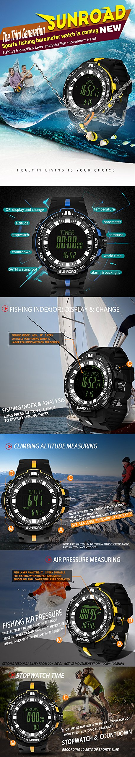 SUNROAD Brand Weather Forecast Altimeter Barometer Thermometer Outdoor Women Watches Compass Waterproof Fishing Watch Men FR861 by YARUIFANSEN
