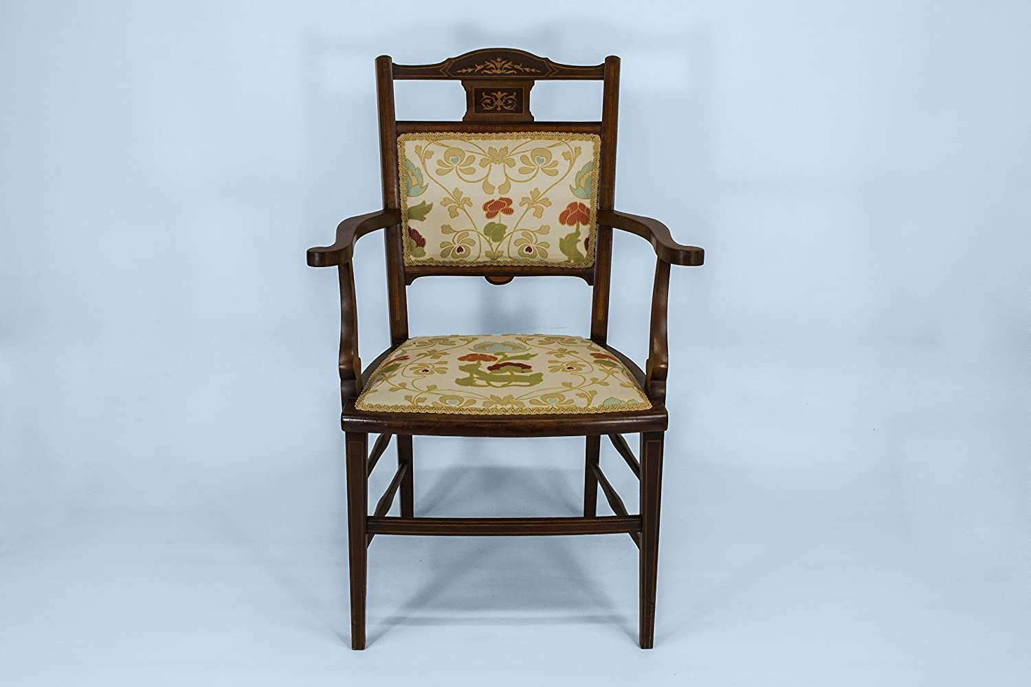 Brown Antique Medium ARMCHAIR Floral Design neoklassischen Palisander Opulent Creme Soft-Englisch circa 1900 LS