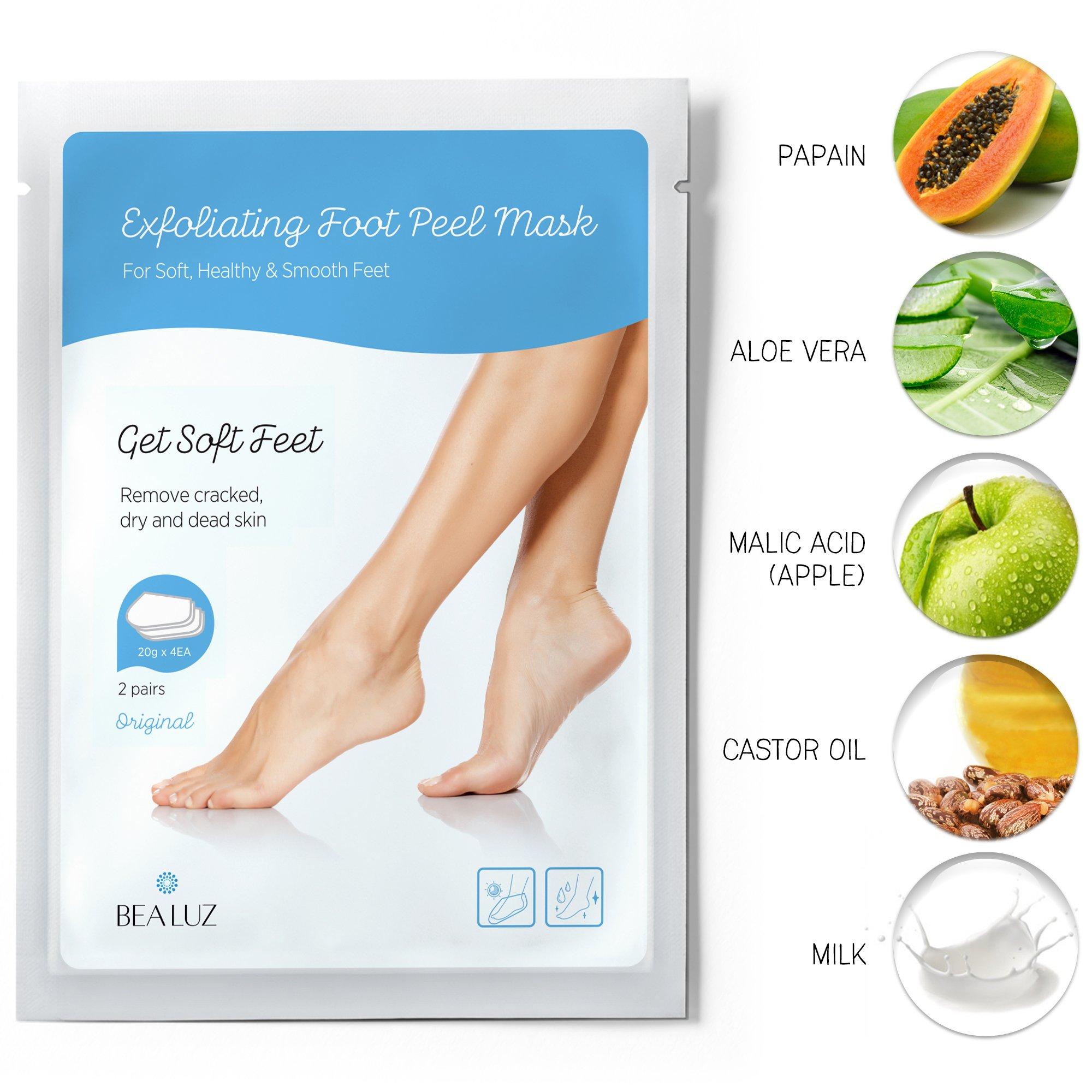 2 Pairs Exfoliating Foot Peel Mask, Soft & Smooth Feet, Peeling Away Rough Dead Skin & Calluses in 1-2 Weeks, Repairing Exfoliant by BEALUZ (Image #3)