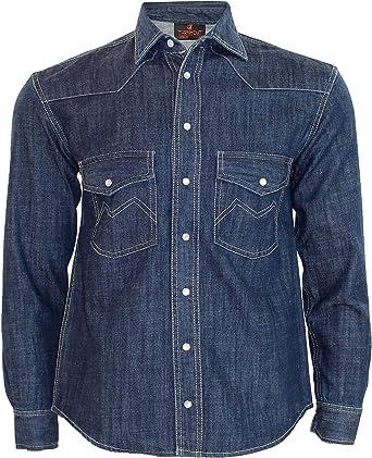 True Face Camisa de mezclilla para hombre con botones de manga larga de ajuste regular
