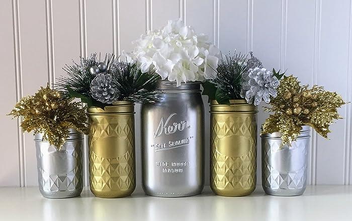 Amazon Com Mason Jar Centerpiece 5 Piece Set Silver And Gold