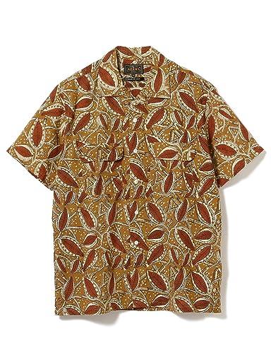 Block Print Short Sleeve Camp Shirt 11-01-1076-139: Brown