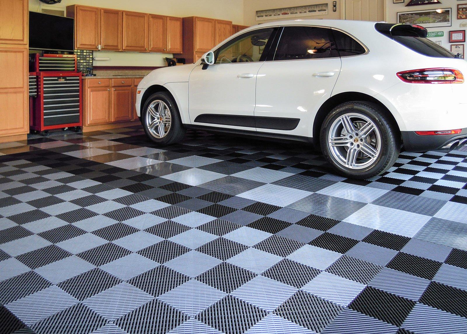 RaceDeck Free-Flow Open Rib Design, Durable Interlocking Modular Garage Flooring Tile (48 Pack), Graphite by RaceDeck (Image #2)