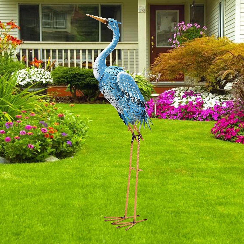 Nacome Large Standing Blue Metal Crane Garden Statue- Indoor/Outdoor Heron Garden Animal Sculpture for Home,Garden,Patio,Backyard,PorchYard Bird Art,Lawn Ornament Decoration,38inch