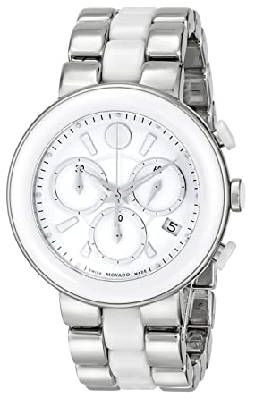 """27753c982 Image Unavailable. Image not available for. Color: Movado Women's 0606758  """"Cerena"""" Stainless Steel And Ceramic Watch"""