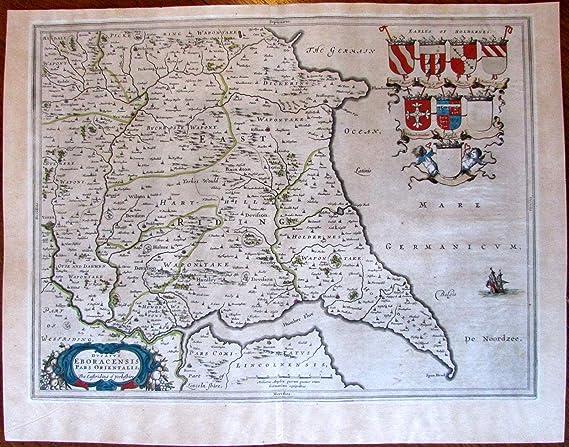 Map Of Uk Hull.Amazon Com Blaeu England East Riding Yorkeshire 1648 Uk Great