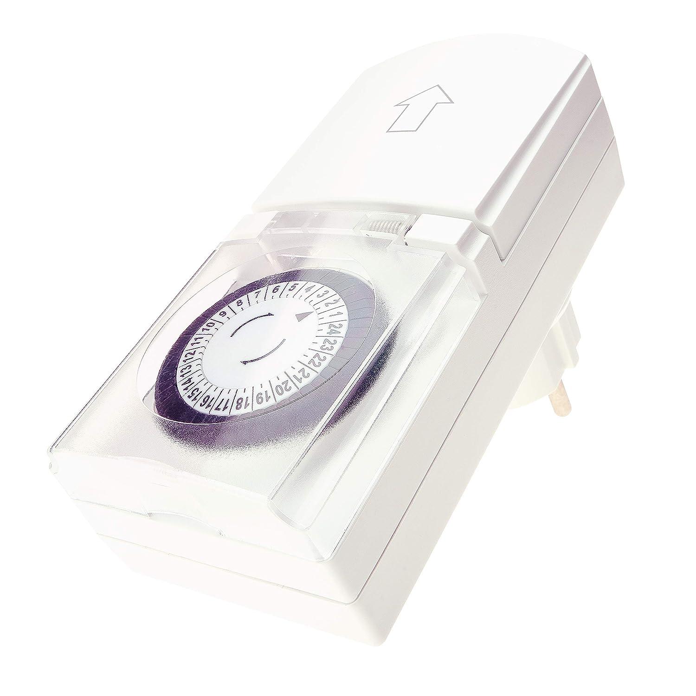 Zeitschaltuhr Aussenbereich mechanisch 1 Stück – Analoge Outdoor Zeitschaltuhr erfüllt ihren Zweck zuverlässig – einfache Bedienung, drehen und fertig – Komfort in Haus und Garten REV 0025700409