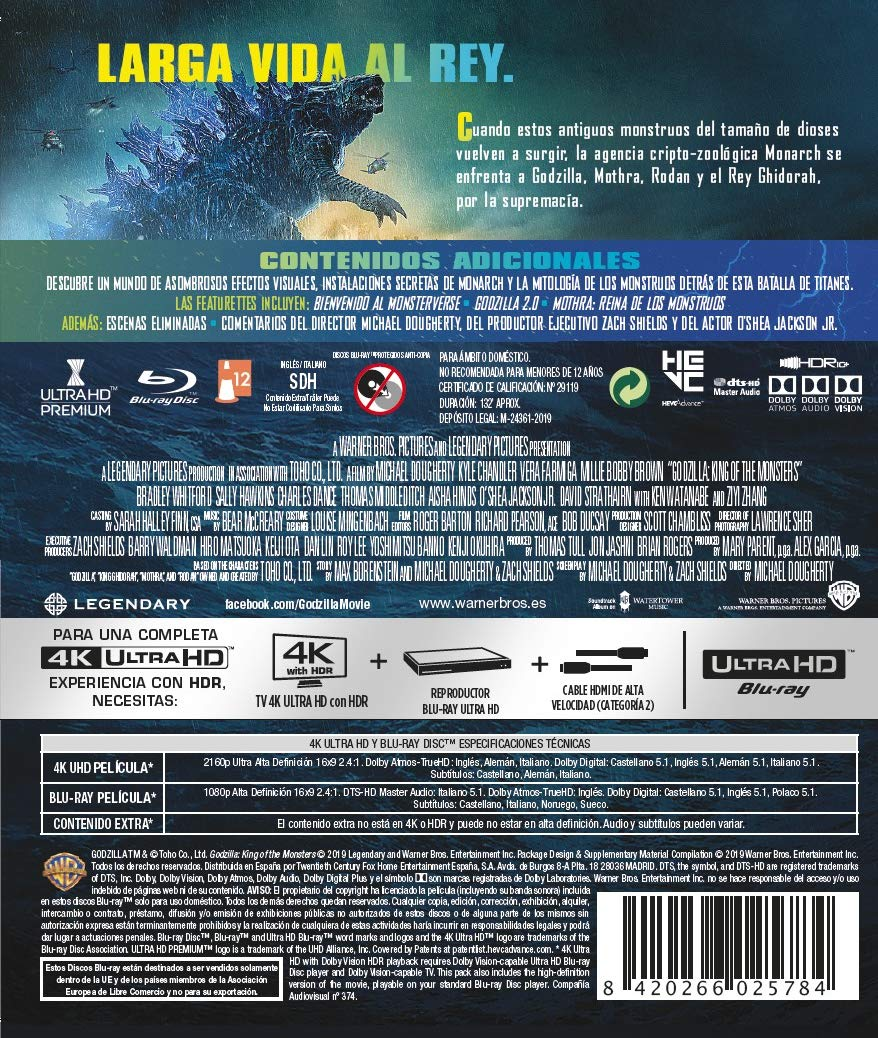 Godzilla: Rey De Los Monstruos Blu-Ray Uhd 4k Blu-ray ...