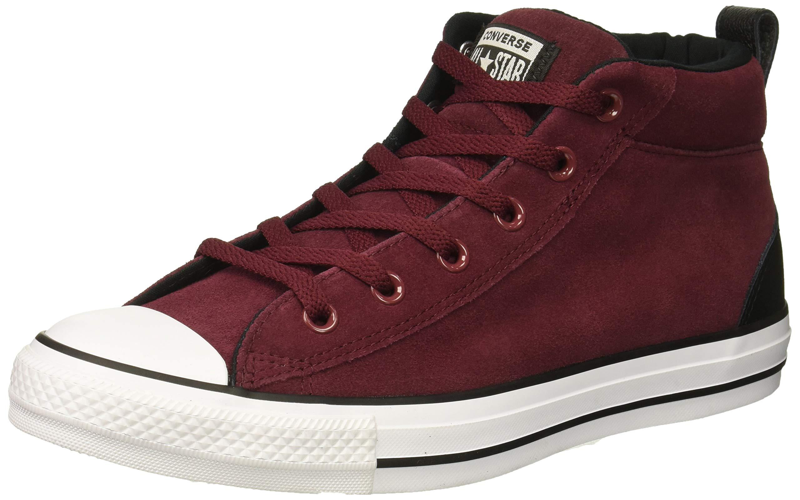 Converse Chuck Taylor All Star Street Suede Mid Sneaker, Dark Burgundy/Black/White, 11 M US
