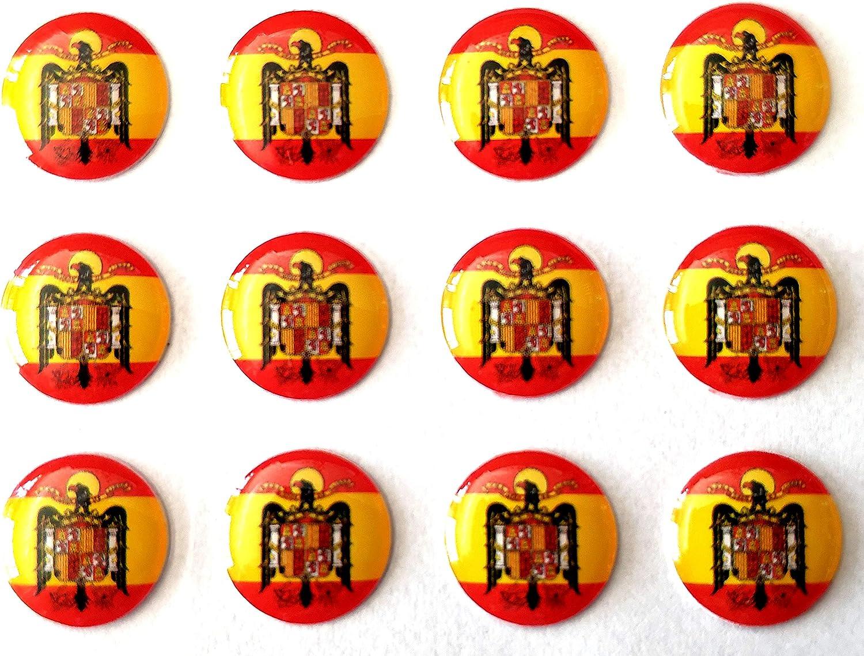 NEW TORO Pegatina de Resina Bandera España Redonda con Escudo Aguila España 11mm, 12 Uds: Amazon.es: Hogar