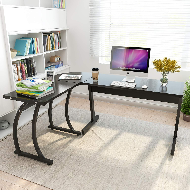 Amazon com coleshome l shape corner computer office desk pc laptop table workstation home office 3 piece black kitchen dining