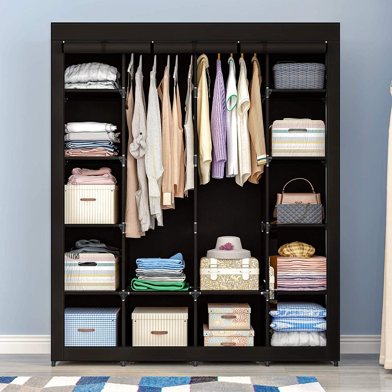 Details about  /Clothes Storage Closet Wardrobe Organizer Shelf Coat Rack Breathable Fabric New