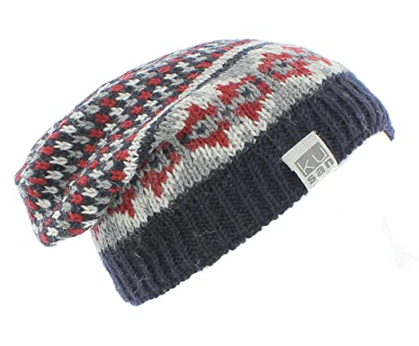 af0797ef2801c5 Kusan (KU1110) Mens Winter 100% Wool knitted Floppy Beanie hat (Navy /  Red): Amazon.co.uk: Clothing