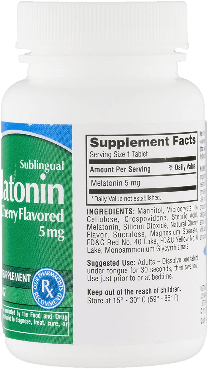 Amazon.com: CareOne Sublingual Melatonin Tablets Cherry Flavored 5 mg - 60 CT: Health & Personal Care