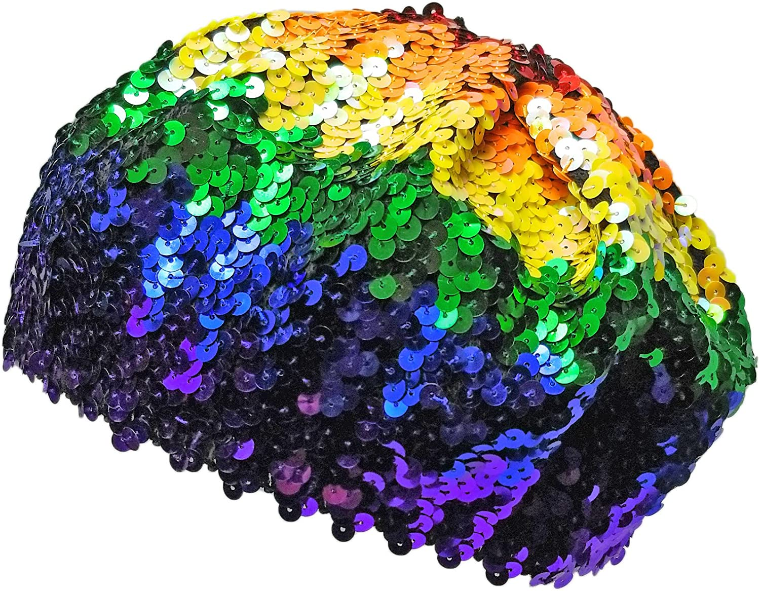Costume Sparkly Slouchy Beanie Cap RPI Colorful Sequin Rainbow Beret Hat