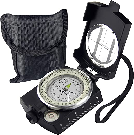 AOFAR Military Compass,AF-4580 Lensatic Sighting, Waterproof and Shakeproof with Map Measurer Distance Calculator, Pouch for Camping, Hiking