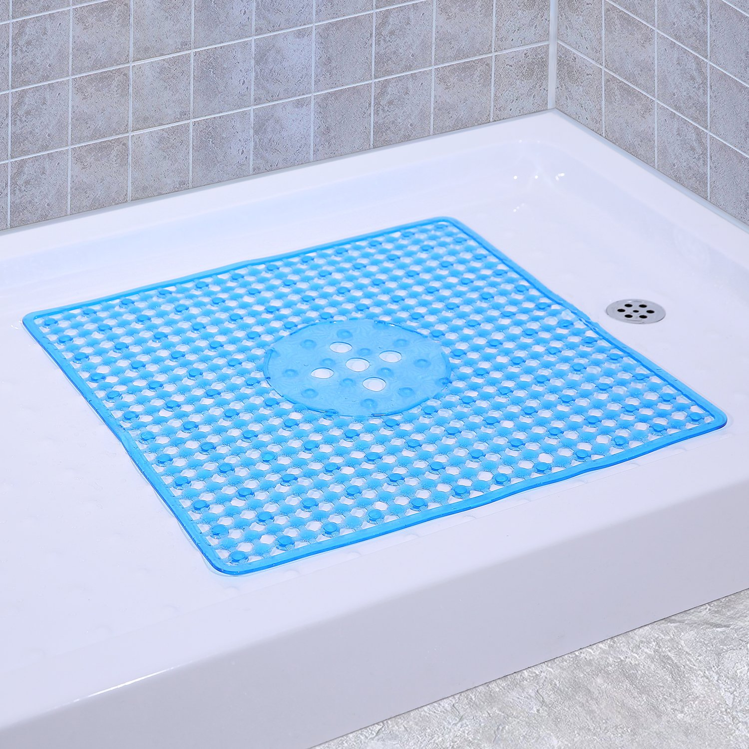 Non-Slip Shower Mats Square Bath Mat Anti Bacterial Machine Washable with Beauty Modern Design 22 x 22 Inch (Clear Blue)