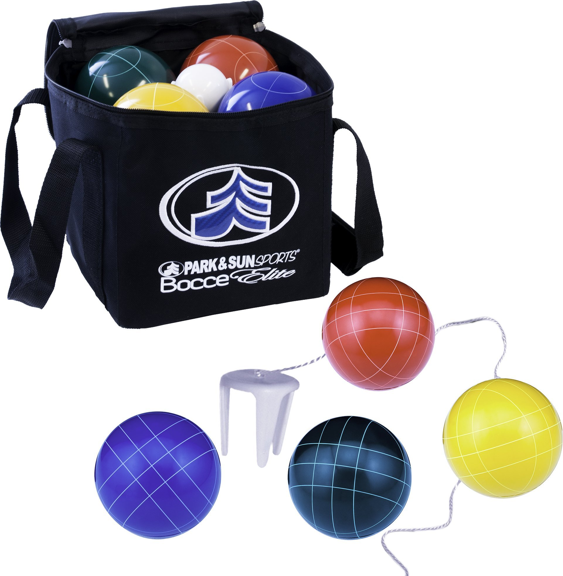 Park & Sun Sports Bocce Ball Set with Deluxe Carrying Bag: Tournament Elite, 100 mm Poly-Resin Balls