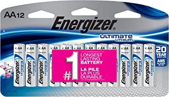 12-Count Energizer Ultimate AA or AAA Lithium Batteries
