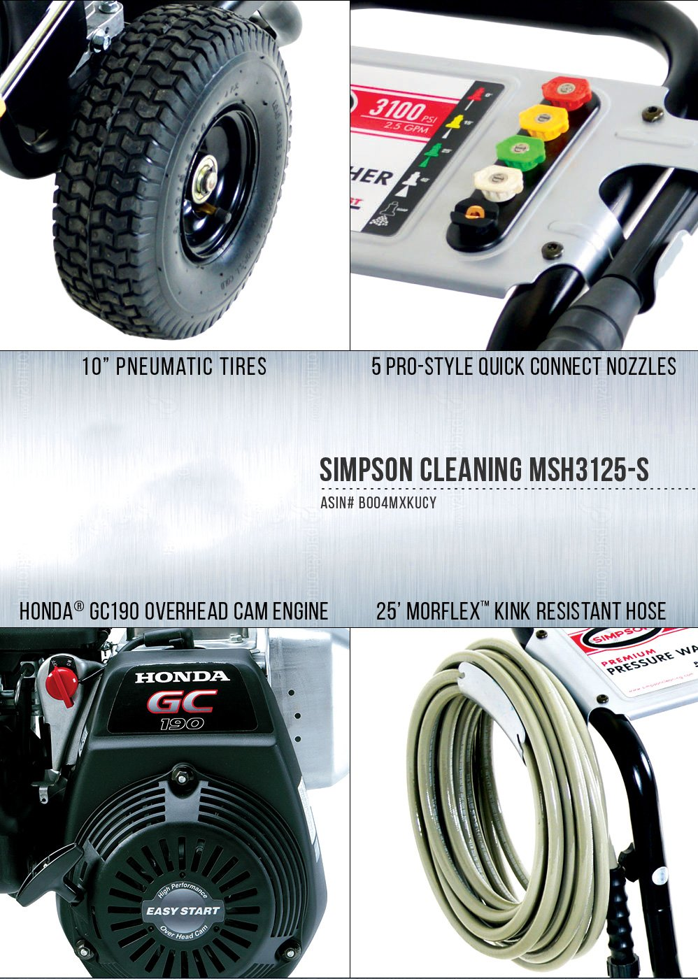 SIMPSON Cleaning MSH3125-S 3100 PSI at 2.5 GPM Gas Pressure Washer Powered by HONDA with OEM Technologies Axial Cam Pump by Simpson Cleaning (Image #3)