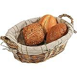 Kesper - Cesta per il pane in salice con rivestimento in tessuto