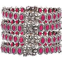 Efulgenz Boho Tribal Antique Oxidized Indian Bangle Bracelet Jewelry for Women (Set of 4), Pink, 2-8