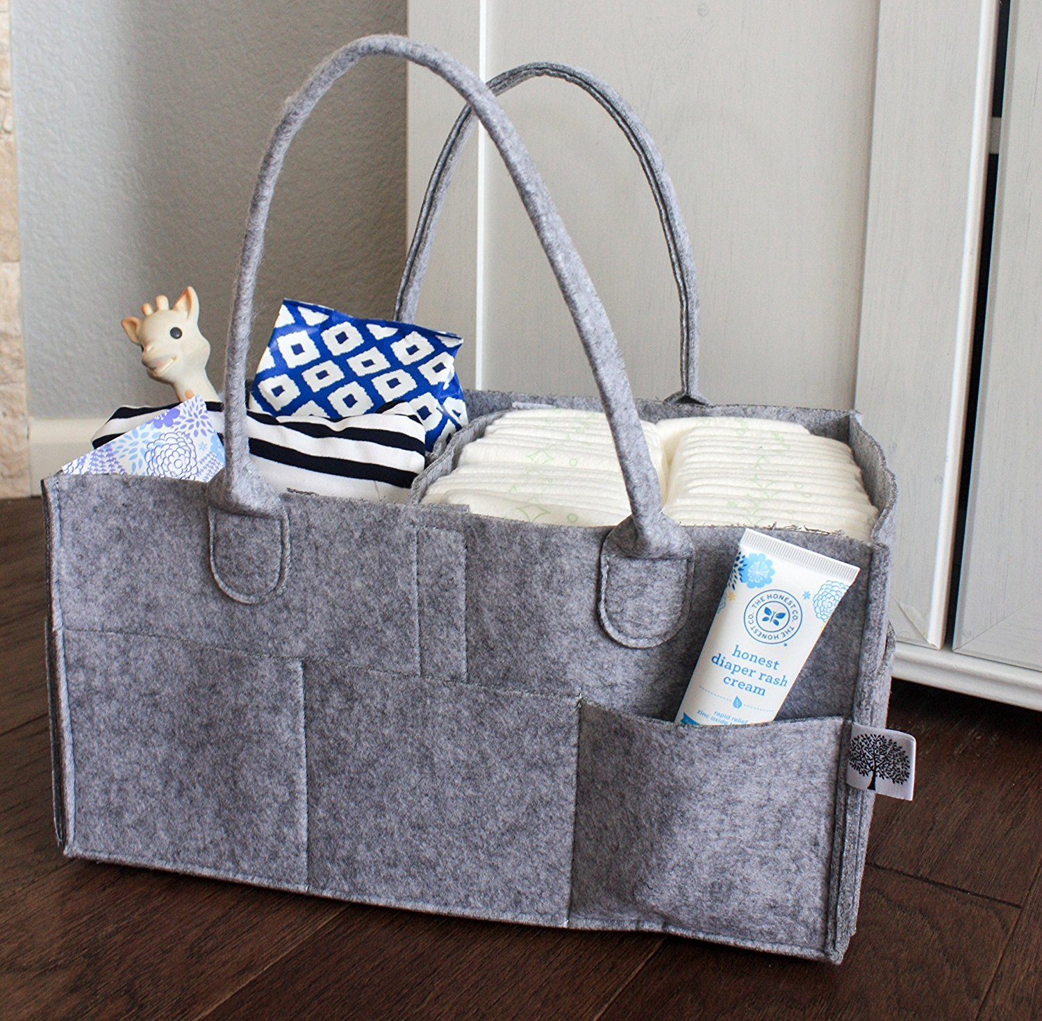 Nursery Storage Bin and Car Organizer for Diapers and Baby Wipes Parker Baby Diaper Caddy