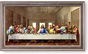 The Last Supper by Leonardo Da Vinci The World Classic Art Reproductions,Giclee Prints Framed WallArt for Home Decor,Image Size:30x16 inches,Champagne Frame With Texture Framed Size:33.6x19.6 inchs