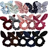 WillingTee 15pcs or 8pcs women's hair scrunchies chiffon scrunchies Velvet Scrunchies for women girls ladies