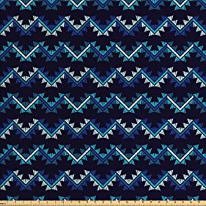 Ambesonne Aztec Fabric by The Yard, Cultural Zigzags Oriental Vibes, Decorative Fabric for Upholstery and Home Accents, 2 Yards, Blue Night