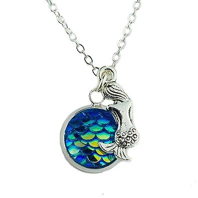 Amazoncom Mermaid Charm Necklace Mermaid Scale Shaped Silver