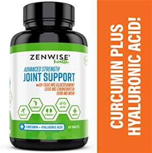 Glucosamine Sulfate Chondroitin MSM Curcumin - Extra Strength Joint Pain Relief Supplement with Hyaluronic Acid - Natural Health Support for Aches, Soreness - 90 Tablets