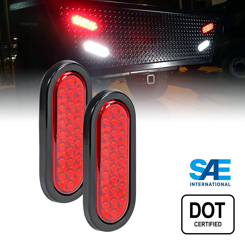 amazoncom 2pc 6 oval red led trailer tail lights 24 led turn