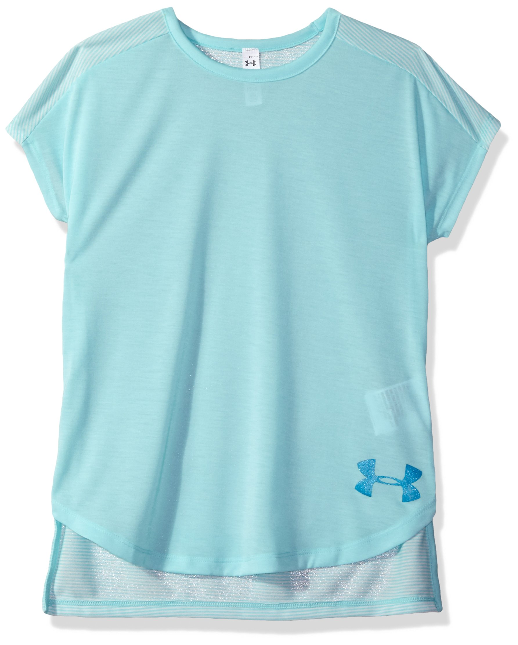 Under Armour Girls' Threadborne Play Up T-Shirt,Blue Infinity /Blue Shift, Youth X-Small