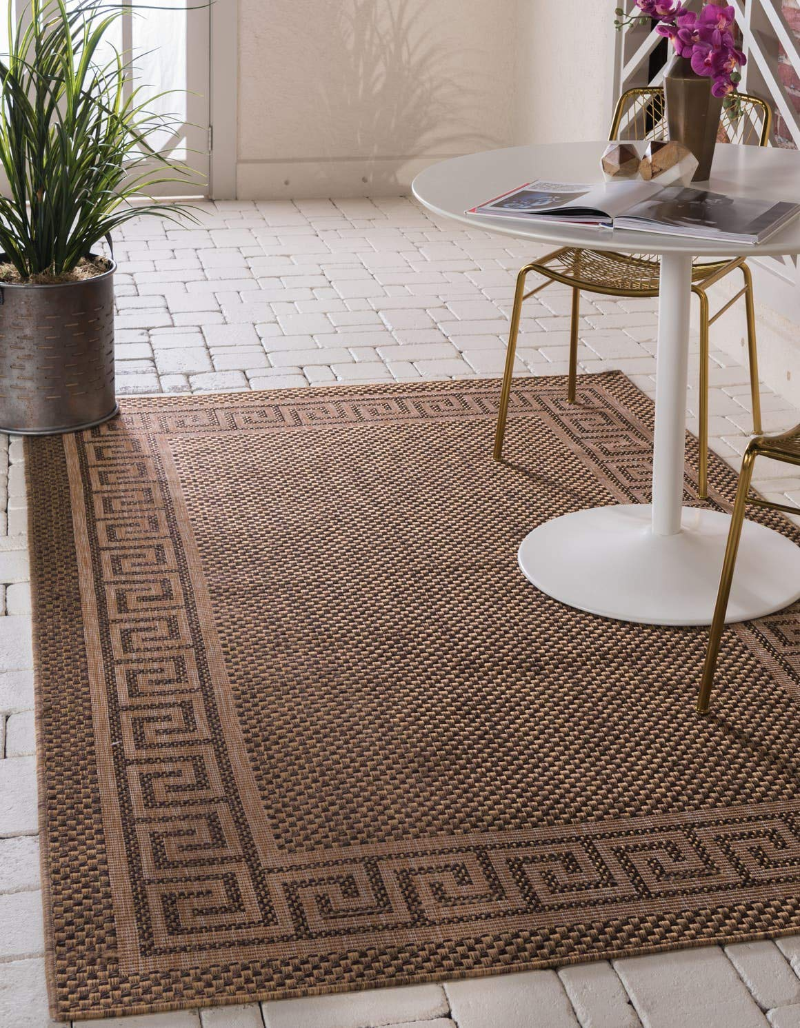 Unique Loom Outdoor Border Collection Casual Greek Key Transitional Indoor and Outdoor Flatweave Brown Area Rug 3 3 x 5 0