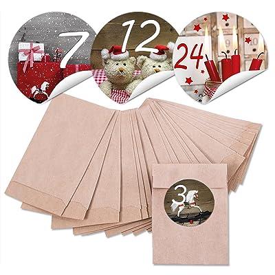 """'24 Marron Noël papier Mini Sachets (6,3 x 9,3 cm) et 24 ronds autocollants Stickers 4 cm """"calendrier de l'avent chiffres 1 à 24 pour calendrier de l'avent soi-même bricolage; Qualité 1 A.: Oficina y"""