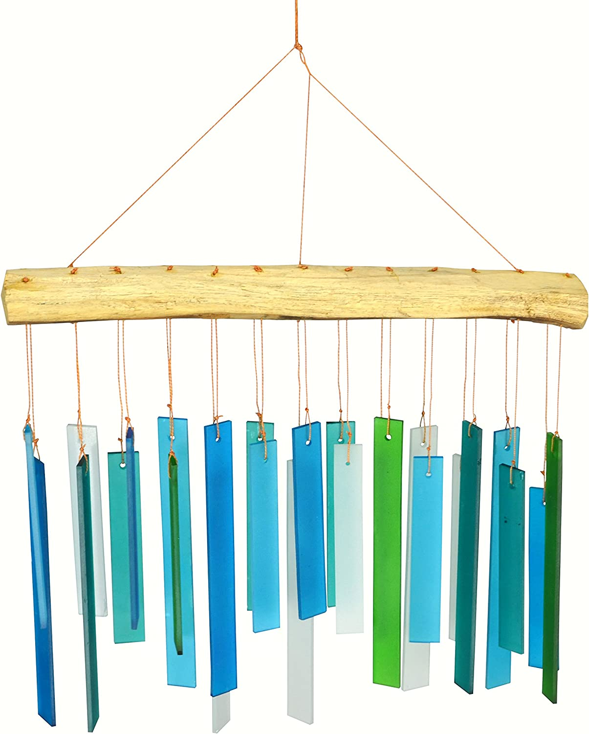 Wind Chimes Glass Chime Garden Outdoor Decor Rainbow Free Driftwood Sea Blue Sandblasted Bell Ship Patio Gift