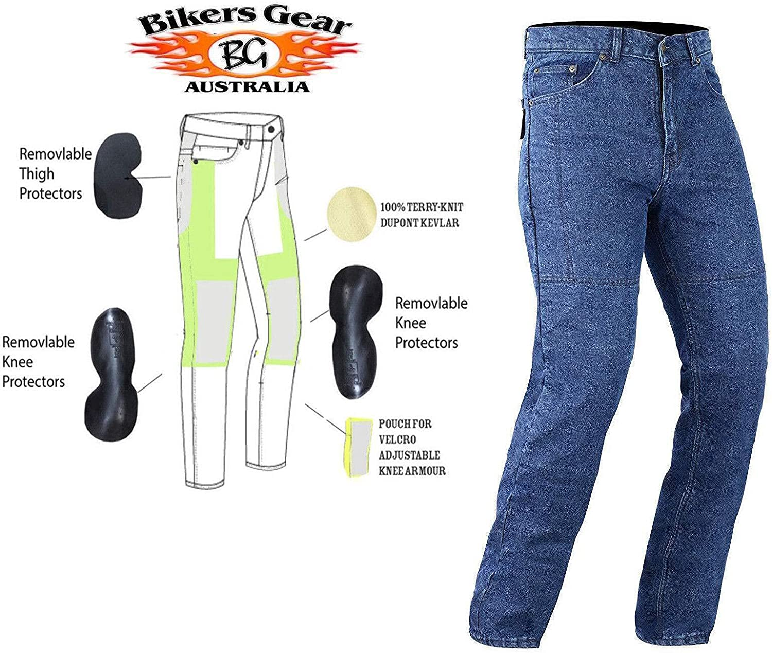 Bikers Gear Australia Ladies Black Stretch Denim Kevlar Lined Protective Motorcycle Jeans with Removable CE1621-1 Armour UK 8S EU XS