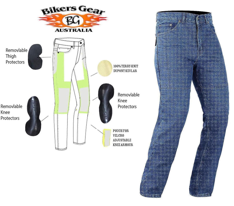 Bikers Gear UK Sella Nero Taglio Classico Jeans con Duponttm Kevlar/® Aramid Fibre Rimovibile Armour