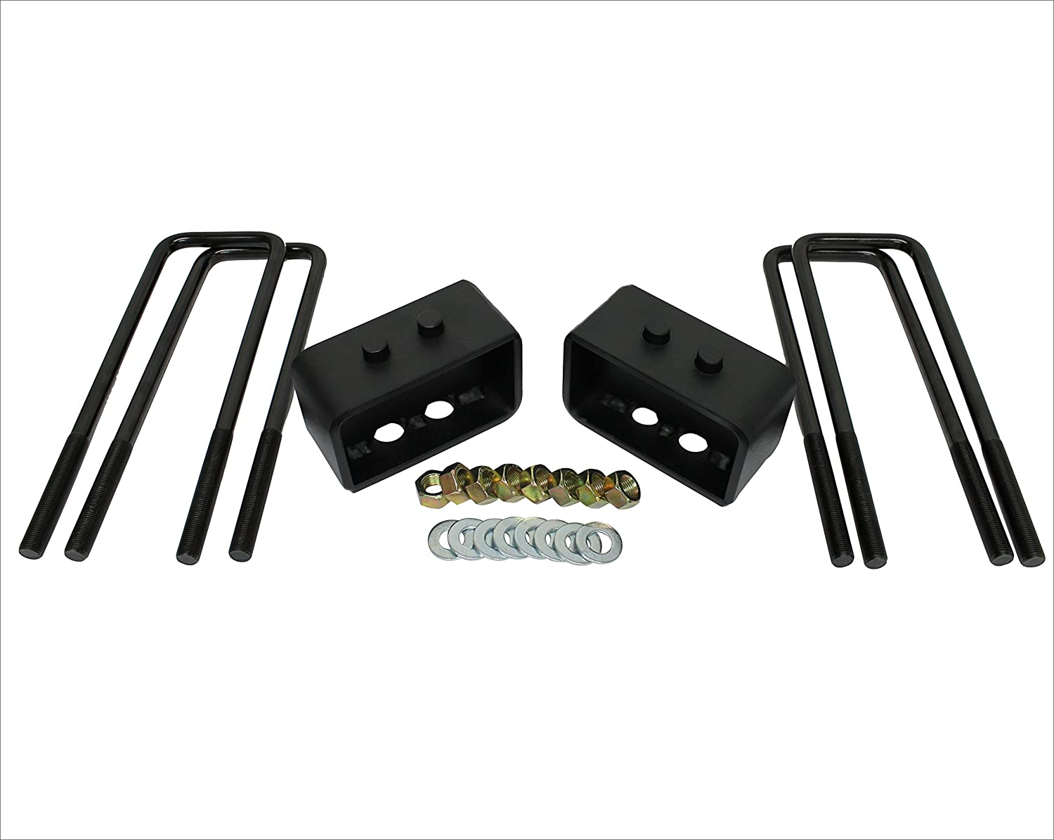 KSP 3 Rear Leveling Lift Block Kits with Extra Long Square Leaf Spring Axle U Bolts for 2004-2017 FORD F150 2WD//4WD