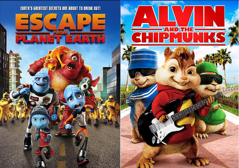 Amazon Com Alvin The Chipmunks Escape From Planet Earth Cartoons Movie Set Dvd Animated Set Brendan Fraser Sarah Jessica Parker Jason Lee David Cross Callan Brunker Movies Tv