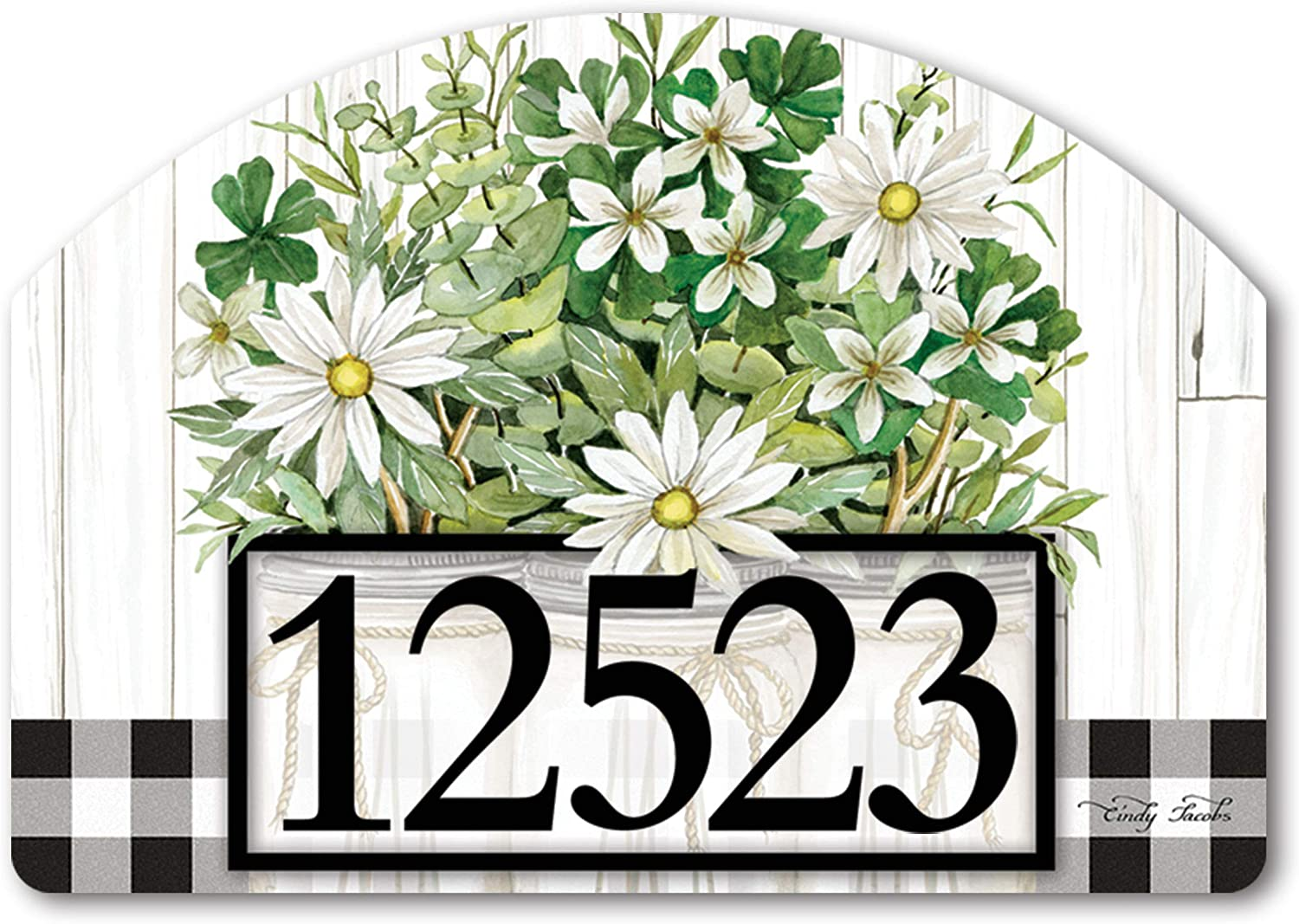 Yard Design Studio M Farmhouse Daisies Decorative Address Marker Yard Sign Magnet, Made in USA, Superior Weather Durability, 14 x 10 Inches